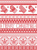 Christmas and festive winter seamless pattern in cross stitch with mittens,heart, angel, decorative ornaments. Merry Christmas Tall Scandinavian Printed Textile Royalty Free Stock Photo