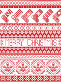 Christmas and festive winter seamless pattern in cross stitch with stockings ,heart, angel, decorative ornaments. Merry Christmas Tall Scandinavian Printed Stock Photos