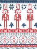 Christmas and festive winter seamless pattern in cross stitch with Xmas trees, snowflakes, Nutcracker Soldier hearts in red  blue. Scandinavian Printed Textile Royalty Free Stock Images