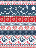 Christmas, festive winter seamless pattern in cross stitch with Xmas trees, snowflakes, Reindeer,mountains, moon, Sleigh, angels. Scandinavian Printed Textile Royalty Free Stock Image