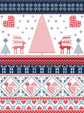 Christmas and festive winter seamless pattern in cross stitch with Xmas trees, snowflakes, Reindeer, stars, hearts in red, blue. Scandinavian Printed Textile Royalty Free Stock Images