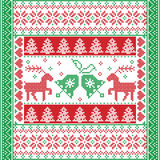 Christmas and festive winter square pattern in cross stitch style with Christmas bell, tree, reindeer, heart, snowflake, star. Scandinavian style and Nordic Royalty Free Stock Image