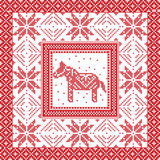 Christmas and festive winter square pattern in cross stitch style with Swedish style Dala horse, snowflake, star and  ornaments Stock Image