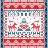 Christmas and festive winter square  pattern in cross stitch style with Xmas tree, reindeer, hearts, snowflakes, stars. Scandinavian style and Nordic culture Stock Photos