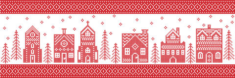 Christmas and festive winter wonderland village pattern in cross stitch style with gingerbread house, church little town buildings stock illustration