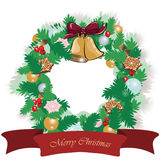 Christmas festive wreath with decorations Royalty Free Stock Photo