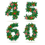 Christmas festive wreath numbers: 4, 5, 6, 0. Stock Photography