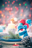 Christmas festive xmas eve table board setting New Year snowman Royalty Free Stock Image