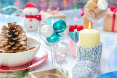 Christmas festive xmas eve table board setting New Year snowman Stock Photo