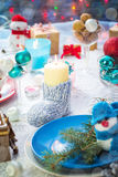 Christmas festive xmas eve table board setting New Year snowman Royalty Free Stock Photos