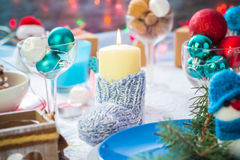 Christmas festive xmas eve table board setting New Year snowman Stock Image