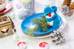 Christmas festive xmas eve table board setting New Year snowman Royalty Free Stock Photography