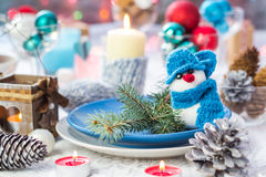 Christmas festive xmas eve table board setting New Year snowman Stock Photos