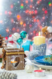 Christmas festive xmas eve table board setting New Year snowman Stock Photography