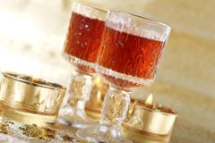 Christmas festivities. Two glasses of Royalty Free Stock Photo
