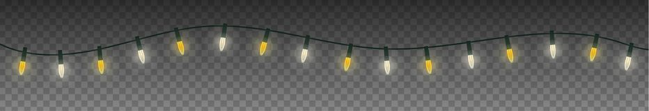 Christmas festoon light garland. Isolated on transparent background Royalty Free Stock Photo