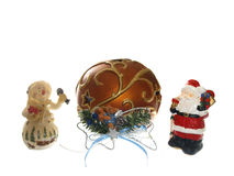 Christmas figures. Snowman and Santa Claus with big bouble Stock Image
