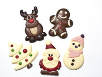 Christmas figures made in chocolat. Five different Christmas figures made in chocolat Stock Photo