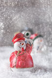 Christmas figurine. Railroader snowman in snow Royalty Free Stock Photos