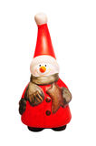 Christmas figurine- red snowman. Red snowman with shawl,closeup on white background Royalty Free Stock Photos