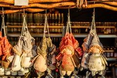 Christmas figurines at Christmas bazaar, Vienna, Austria Royalty Free Stock Photo