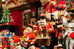 Christmas figurines. Set of colorful Christmas figurines displayed at the street market Stock Photography