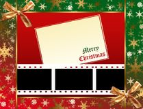 Christmas film frames. Christmas background with film stripes Stock Photos