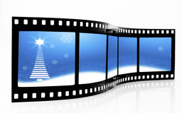 Christmas Film Strip. Blue Christmas Tree Film Strip Royalty Free Stock Image