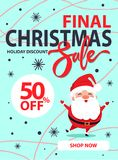 Christmas Final Sale Holiday Discount Poster Santa. Christmas final sale holiday discount poster with happy jumping or dancing Santa Claus on blue background Stock Photos