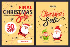 Christmas Final Sale Holiday Discount Poster Santa. Christmas final sale holiday discount poster happy jumping or dancing Santa Claus and elf cartoon character Stock Photo