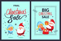Christmas Final Sale Holiday Discount Santa Maiden. Christmas final sale holiday discount poster with happy jumping or dancing Santa Claus and Snow Maiden with Royalty Free Stock Image