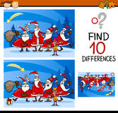 Christmas find differences task. Cartoon Illustration of Differences Educational Task for Preschool Children with Christmas Characters Stock Images