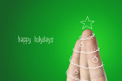 Christmas finger tree Royalty Free Stock Images