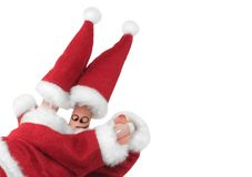 Christmas fingers show-4. Fingers dressed in Santa-Claus red-white costumes Stock Photography