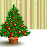 Christmas fir. Christmas card with decorated fir, this illustration may be useful as designer work Stock Image