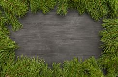 Christmas frame or fir backgrounds. Wooden background with fir-tree on the edge. Layout for Christams design Stock Photo