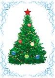Christmas fir in blue frame. Green fir decorated christmas toys in blue frame Stock Image