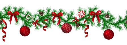 Free Christmas Fir Border With Hanging Garland, Fir Branches, Red And Silver Baubles, Pine Cones And Other Ornaments Royalty Free Stock Photography - 133471297
