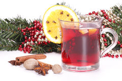 Christmas, fir brances and mulled wine. Christmas, fir brances,  mulled wine and spices Stock Images