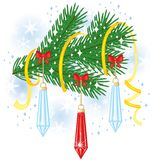 Christmas fir branch. Fir branch decorated with toys, bows and streamer Stock Image