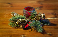 Christmas fir branch decoration and candle lantern Royalty Free Stock Photo