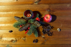 Christmas fir branch decoration and candle lantern Stock Photography