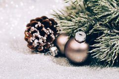 Christmas fir branch with pine cone Stock Photography