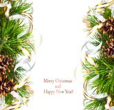 Christmas fir branch with pine cones, gold streamers and stars Royalty Free Stock Photos
