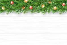 Christmas with fir branch on white wooden background. Vector ill stock illustration