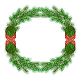 Christmas fir branch wreath frame. Isolated on white Stock Image