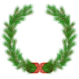 Christmas fir branch wreath frame Royalty Free Stock Image