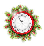 Christmas Fir Branches with Clock Stock Photos