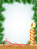 Christmas fir branches frame candle. Ribbon pattern Royalty Free Stock Image