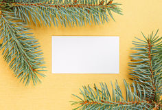 Christmas fir branches framework and empty card Royalty Free Stock Photography